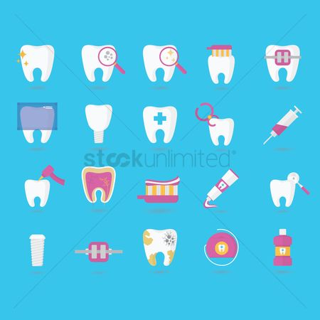Tooth with braces : Set of dental icons