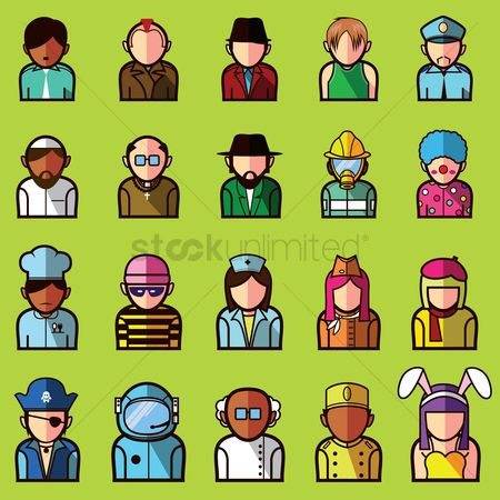 Chef : Set of different professional avatars