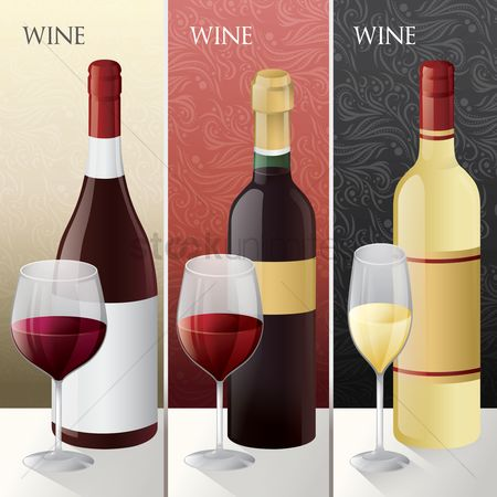 Liquor : Set of different wine bottles with glass
