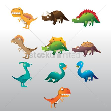 Cartoon : Set of dinosaur icons