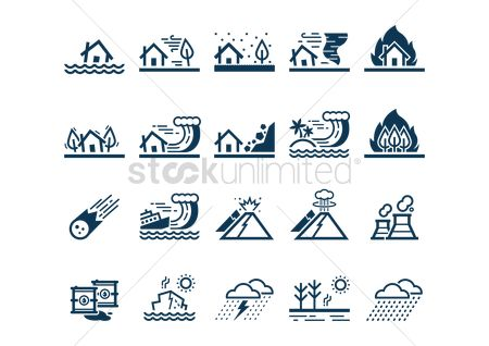 Pollution : Set of disaster icons