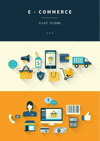 Online shopping : Set of e-commerce icons
