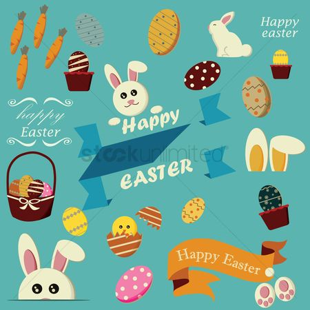 Holiday : Set of easter icons