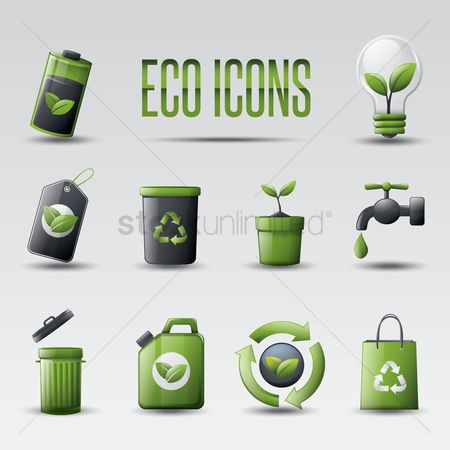 Charging icon : Set of eco icons