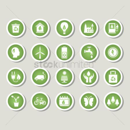 Bicycles : Set of eco icons