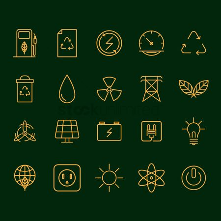 Power button : Set of ecology icons
