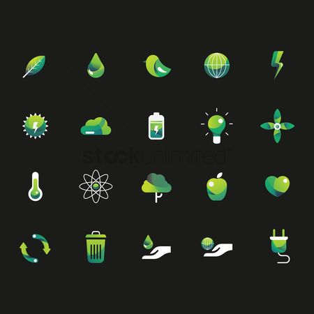 Apple : Set of ecology icons