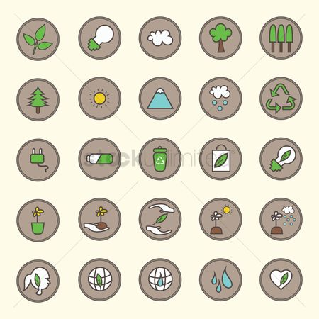 Flower pot : Set of ecology icons