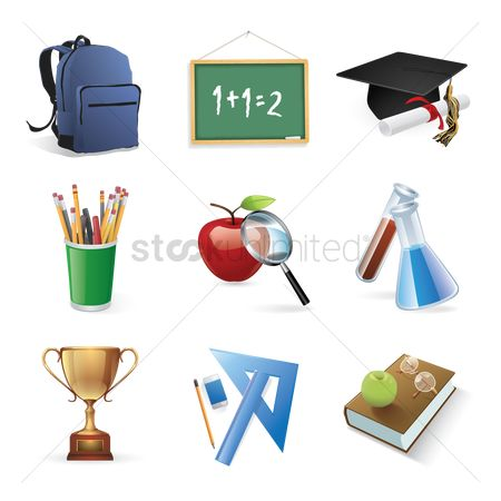 Magnifying : Set of education icons