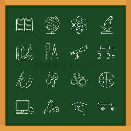 Brushes : Set of education icons