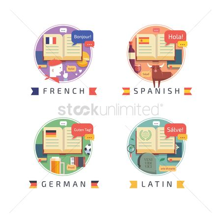 French : Set of education icons