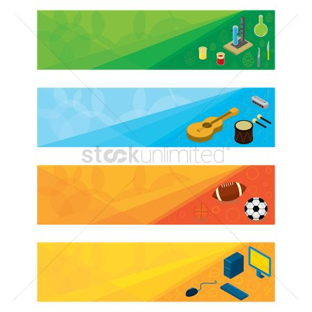Drums : Set of educational banner