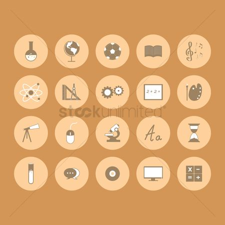 Sand clock : Set of educational icons