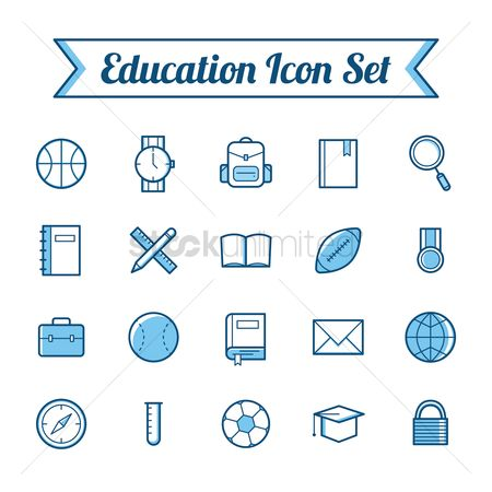 Wristwatch : Set of educational icons