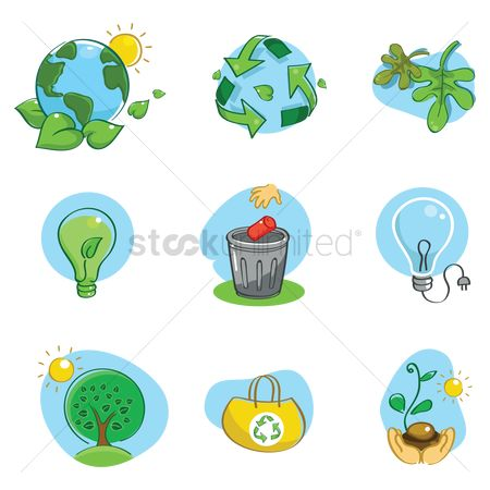 Recycle bin : Set of environmental icons