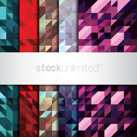 Geometrics : Set of faceted backgrounds