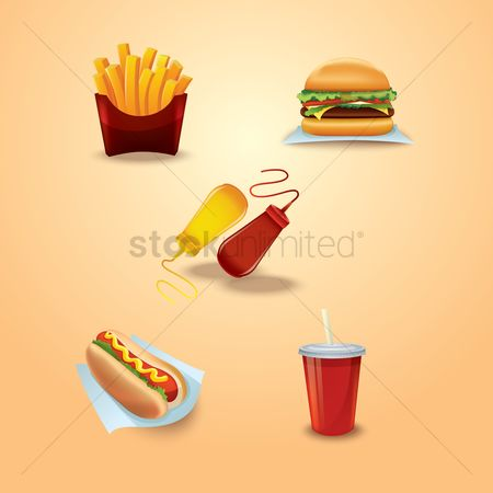 French fries : Set of fast food icons