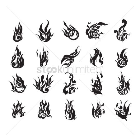 Fire : Set of fire flame tattoos