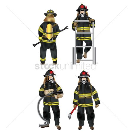 Fire extinguisher : Set of firefighter icons