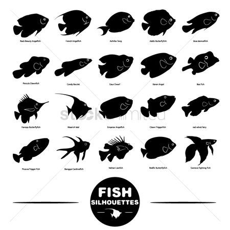 French : Set of fish icons
