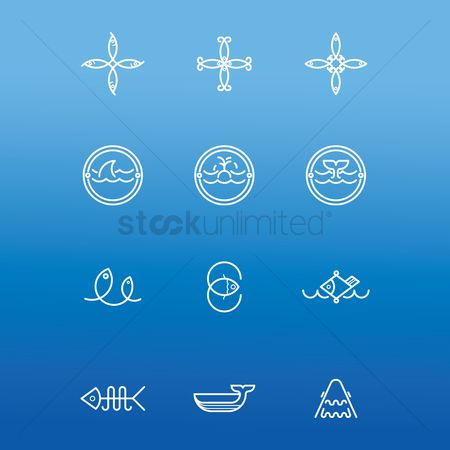 Marine life : Set of fish icons