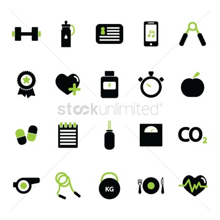 Eat : Set of fitness icons