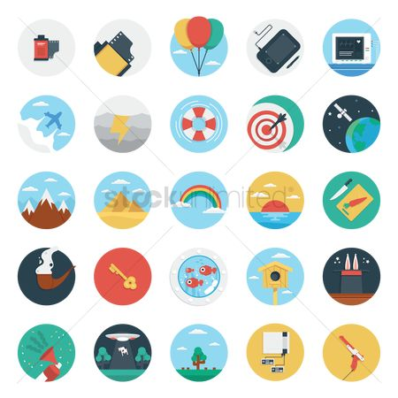 Aeroplanes : Set of flat design icon