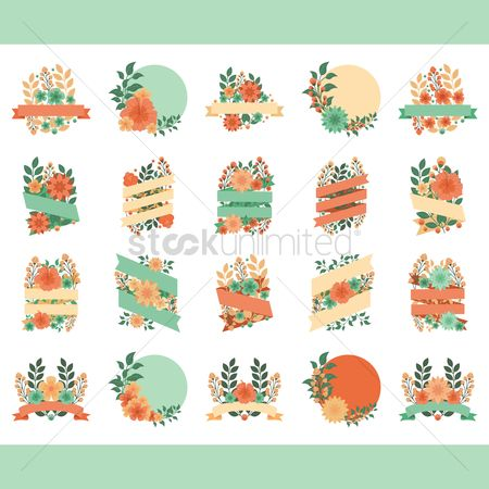 Floral : Set of floral labels