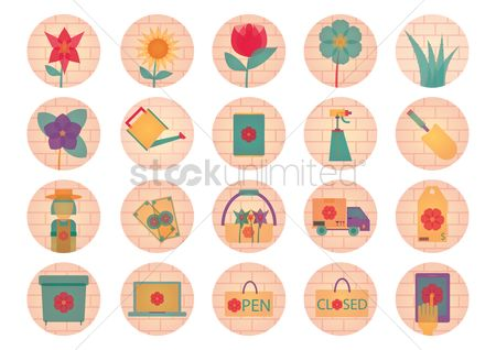 Hand truck : Set of flower icons