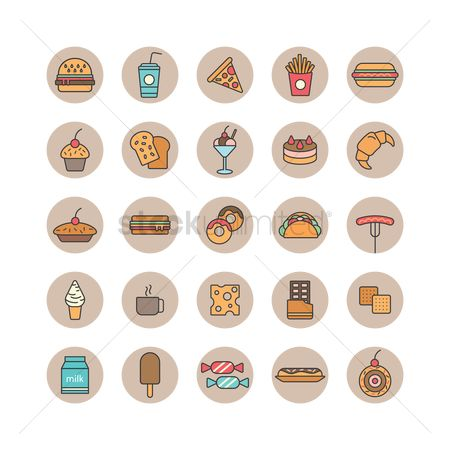 Croissants : Set of food and beverages icons