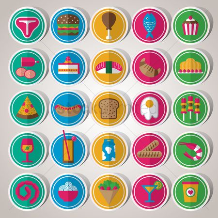 Burgers : Set of food icons