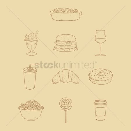 Take away cup : Set of food icons