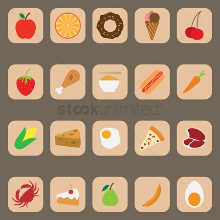 Crabs : Set of food icons