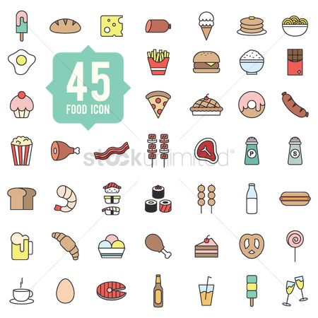 Croissant : Set of food icons