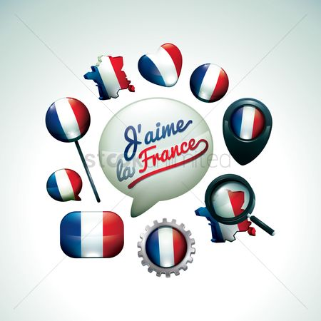 Love speech bubble : Set of france flag icons