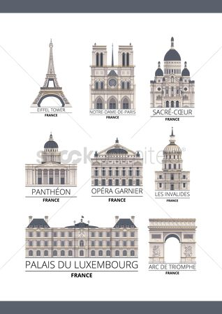 Tourist attraction : Set of france monuments