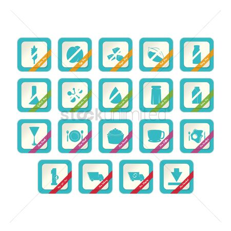 Dairy : Set of free label icons