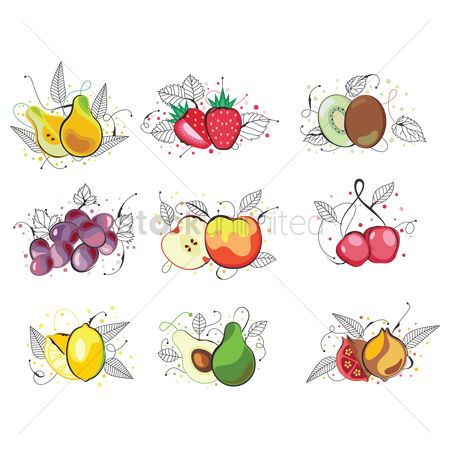 Grapes : Set of fruit icons