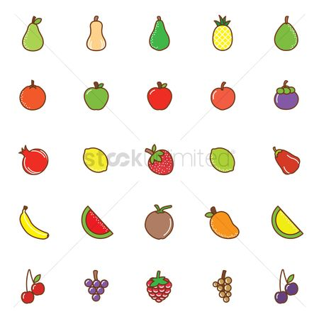 Mangoes : Set of fruits icons