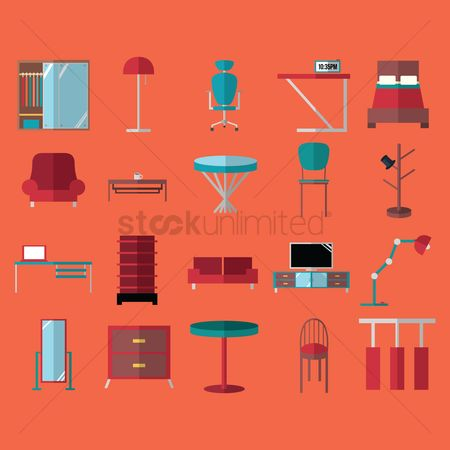 Lighting : Set of furniture icons