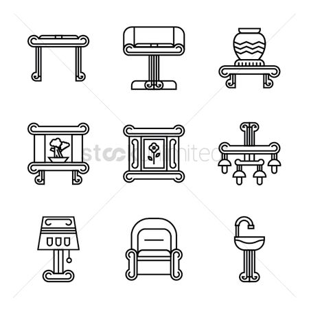 Picture : Set of furniture icons