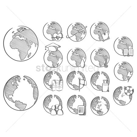 Cartography : Set of globe with icons