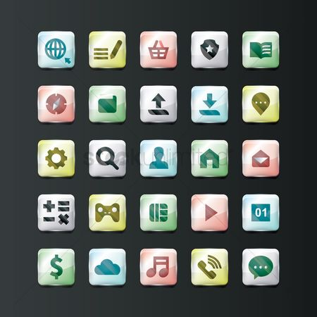 Main : Set of glossy mobile icons