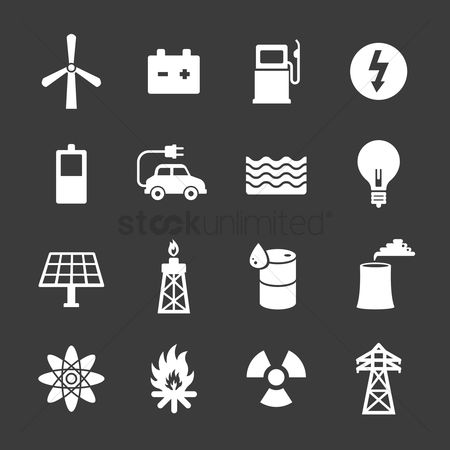 Pollution : Set of go green concept icons