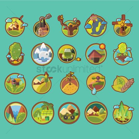 Wheats : Set of go green icons