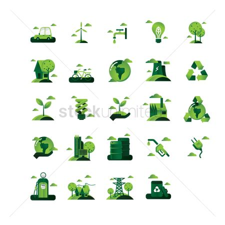 Faucets : Set of go green icons