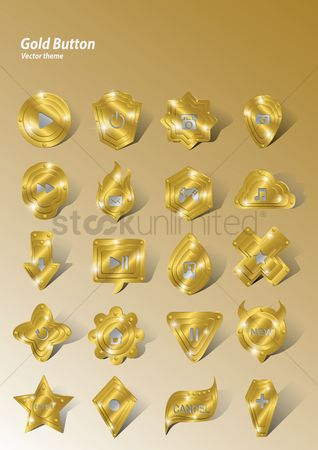 Power button : Set of gold buttons
