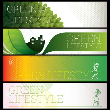 Lifestyle : Set of green lifestyle banners