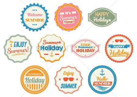 Happy summer : Set of happy holiday cards