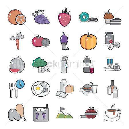 Watermelon : Set of health icons